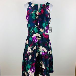 Nine West navy floral shantung dress sz 6